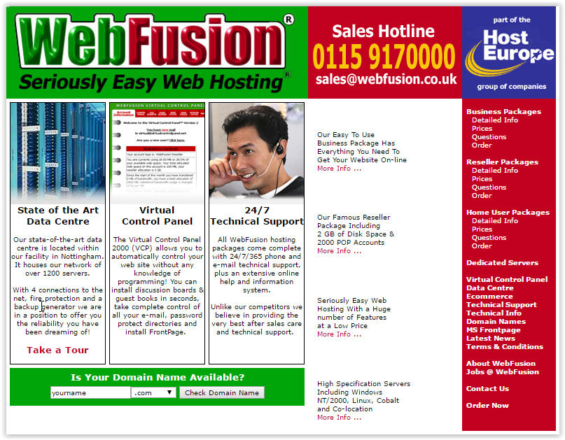 Screenshot of Webfusion's website at launch
