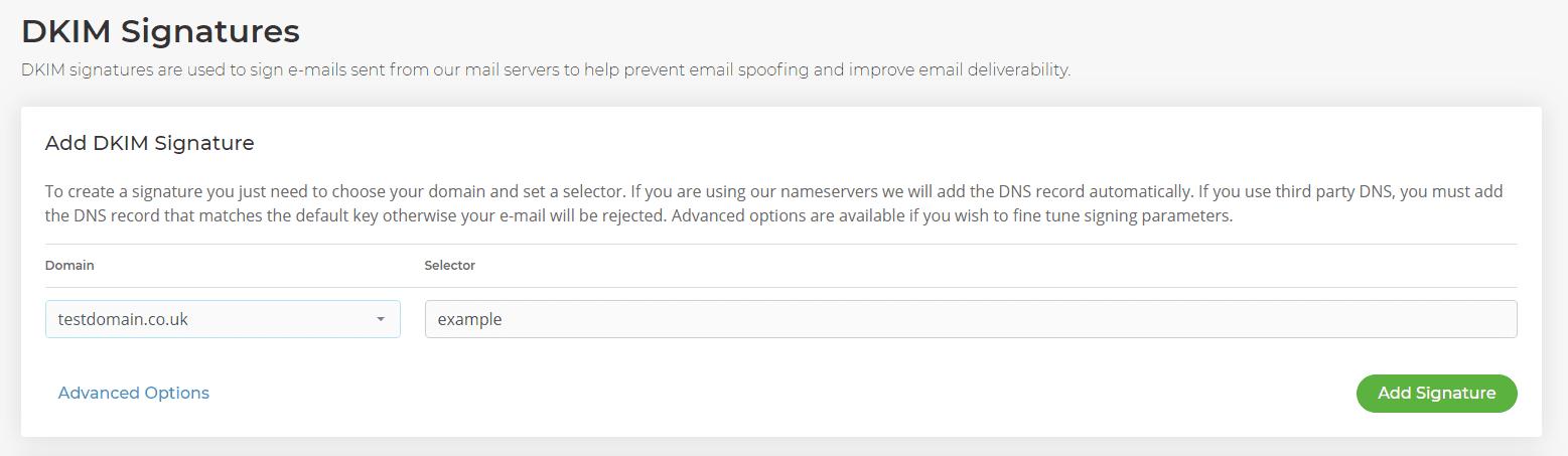 DKIM signatures