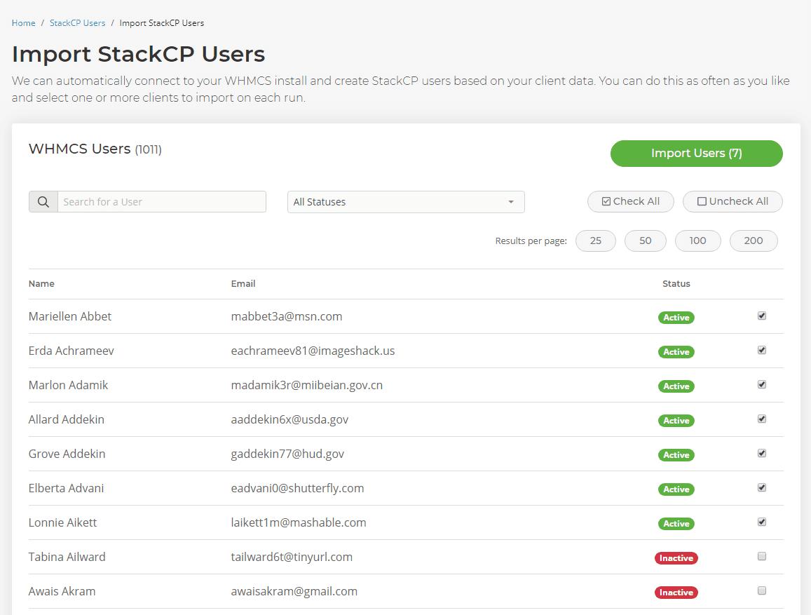 User list