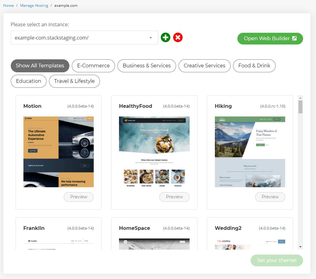 Set your web builder theme