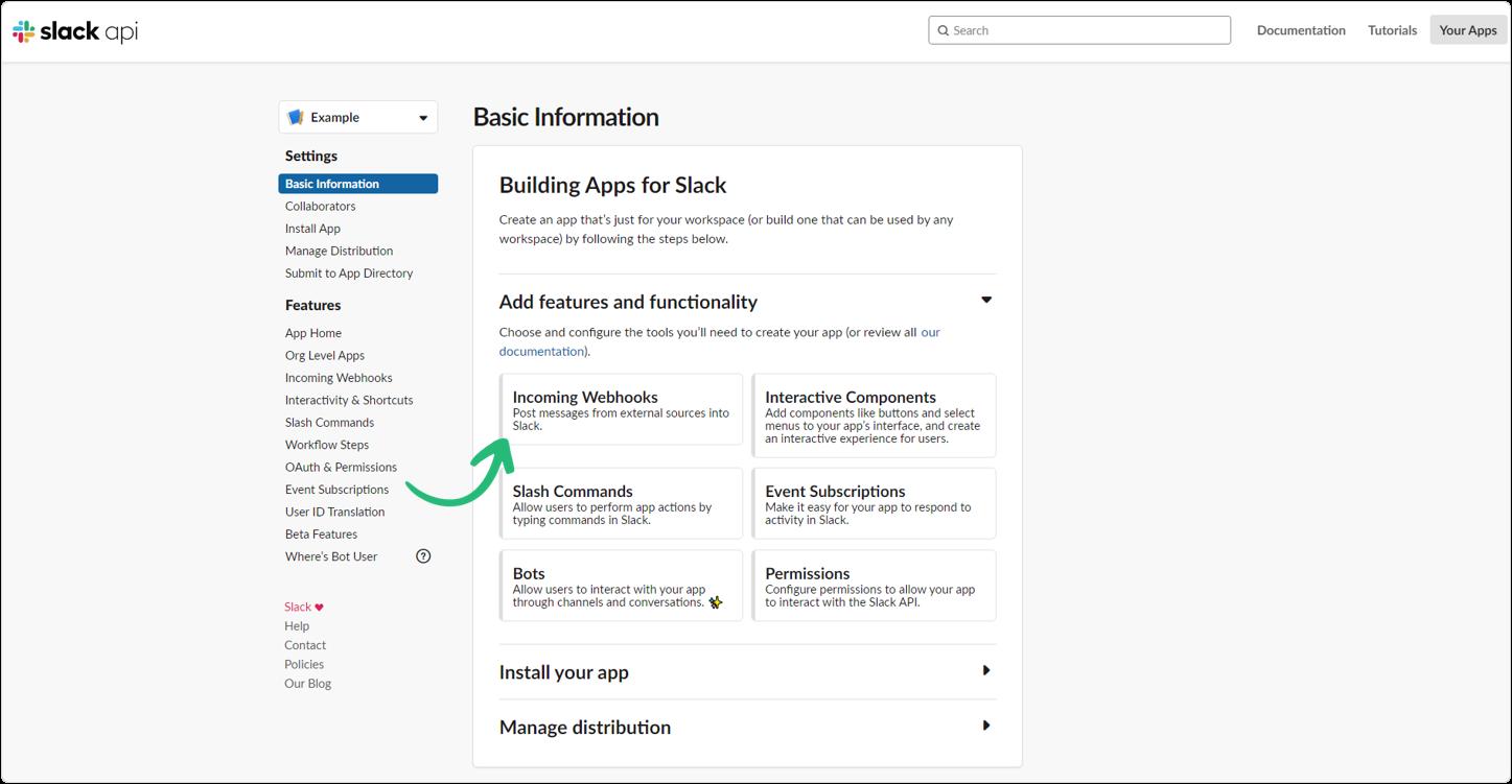 Slack API incoming webhooks