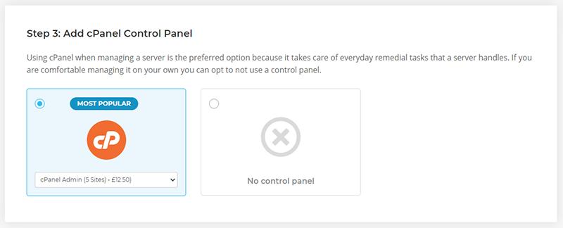 Choose cPanel control panel