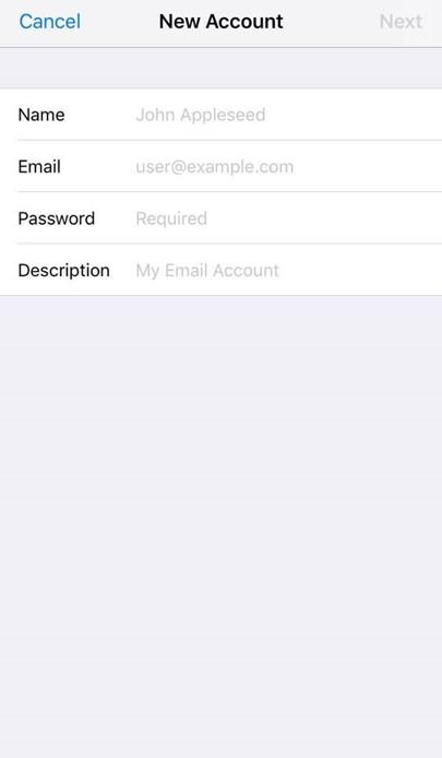 Nova conta de email do iOS
