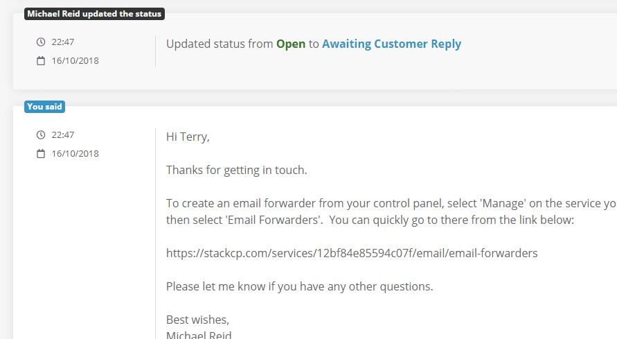 Example reply to a support ticket
