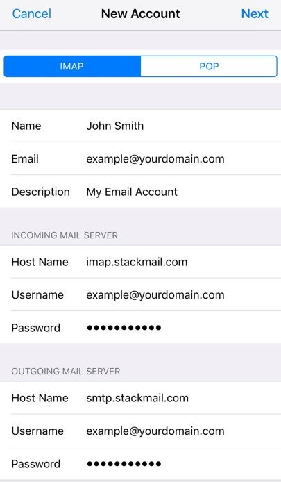 iOS email settings IMAP and POP