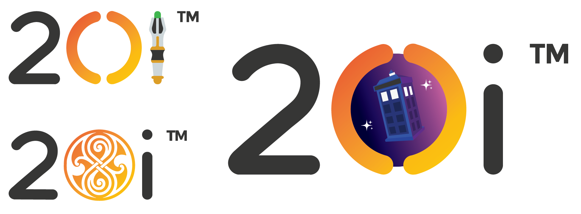 Some alternative Doctor Who-themed designs for the 20i logo