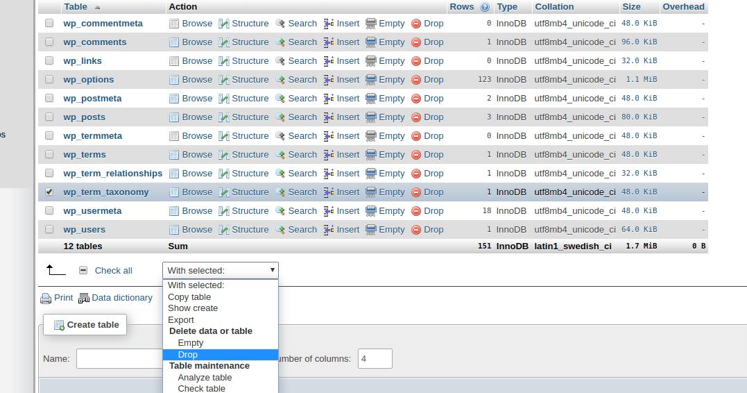phpMyAdmin drop table function