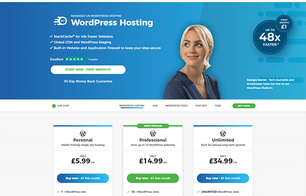 20i WordPress Hosting, with review and celebrity endorsements.]