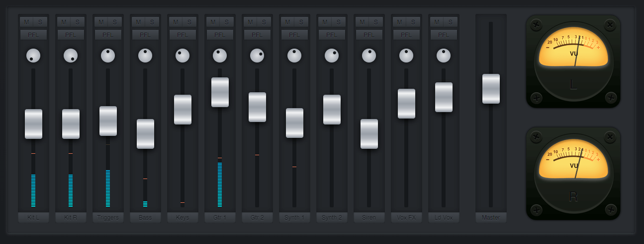 Mixing desk in JavaScript