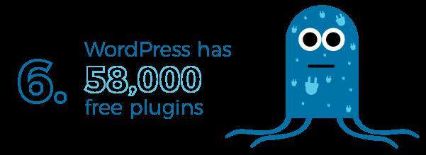 WordPress has over 58,000 plugins