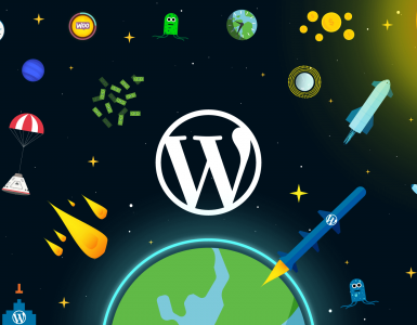 WordPress logo on a space-themed background