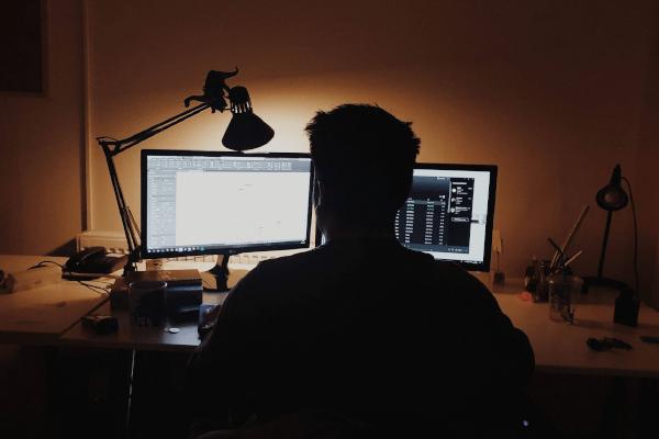 Developer at screen
