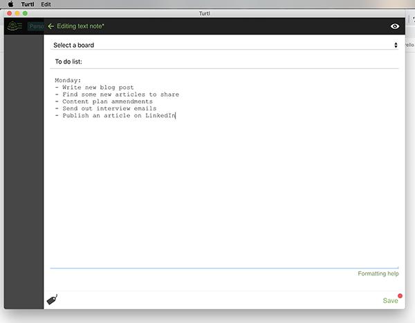 Turtl user interface