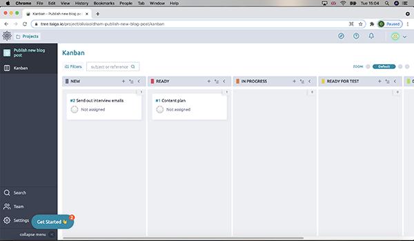 Taiga user interface