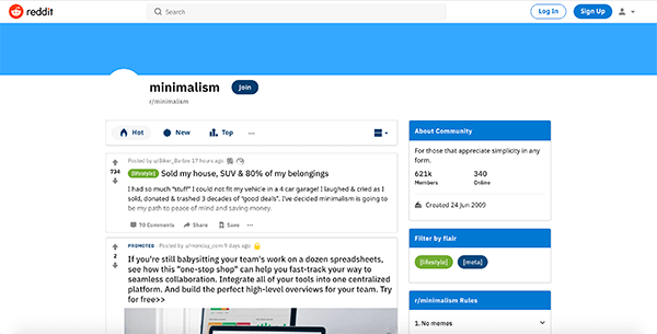 minimalism subreddit
