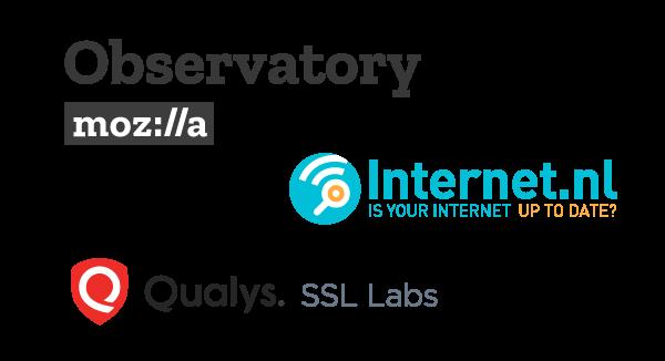 Mozilla Observatory, Internetnl and Qualys logos
