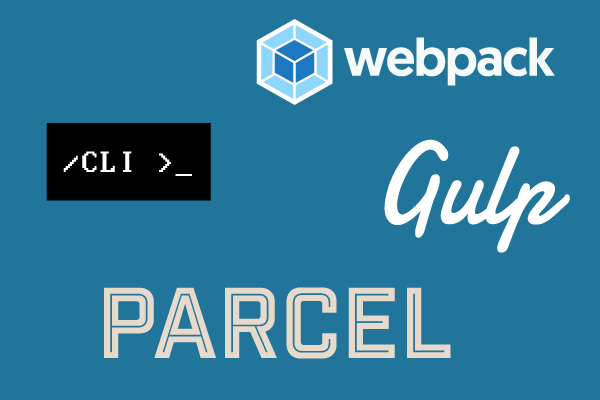 Logos for Webpack, CLI, Gulp and Parcel