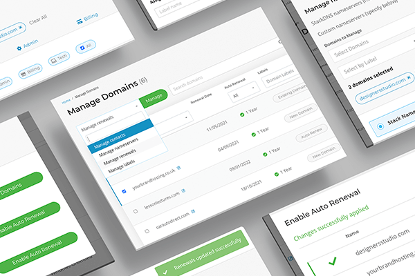 New 'Manage Domains' UI
