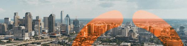 Dallas skyline with 20i logo