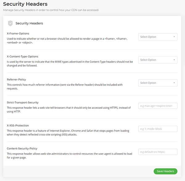 Security Headers user interface